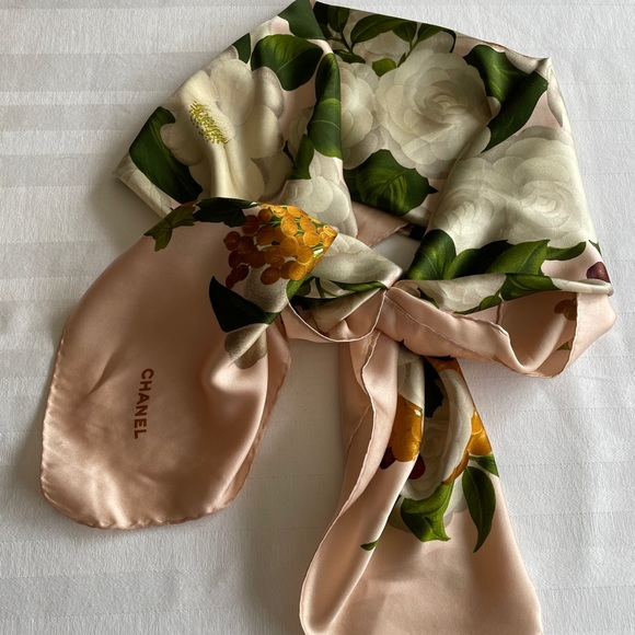Chanel Scarf with Camelia and Fruit Motif
